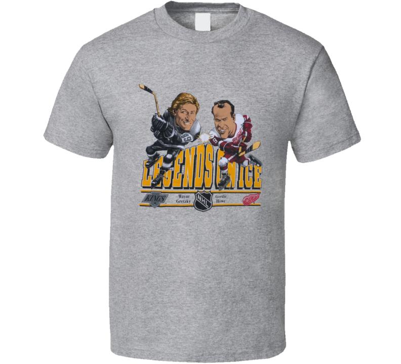 Wayne Gretzky And Gordie Howe Retro Hockey Legends Caricature T Shirt