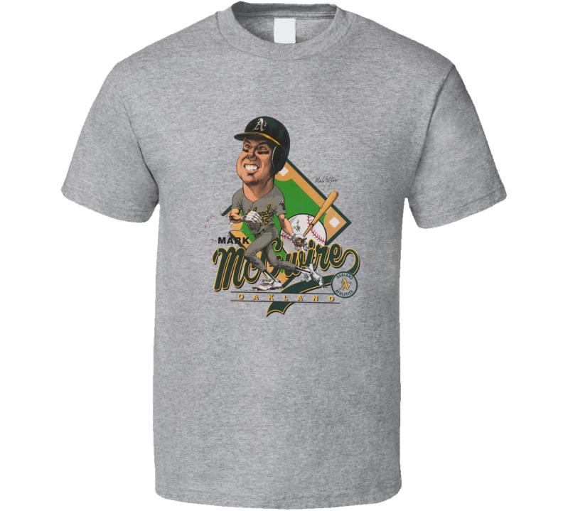 Mark Mcgwire Retro Oakland Baseball Legend Caricature T Shirt