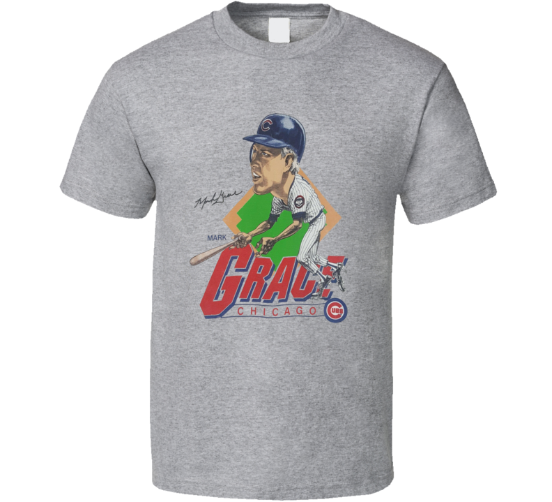 Mark Grace Chicago Baseball Legend Caricature T Shirt