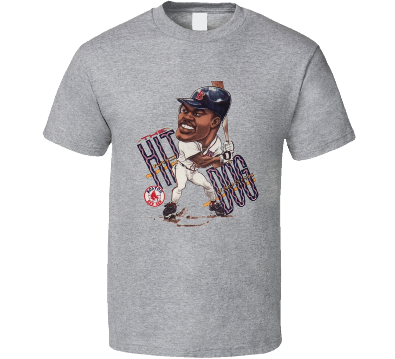 Mo Vaughn Hit Dog Boston Baseball Retro Caricature T Shirt