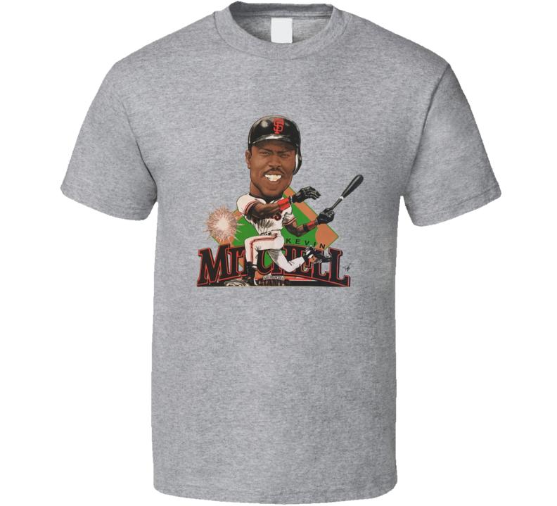 Kevin Mitchell Retro San Francisco Baseball Caricature T Shirt