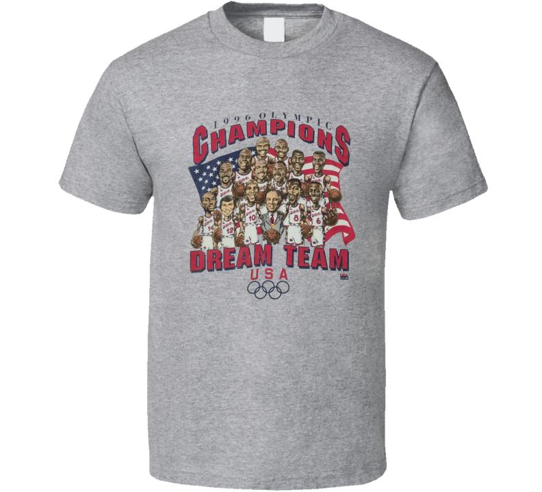 Usa Basketball 1996 Dream Team Olympic Champions Retro Caricature T Shirt