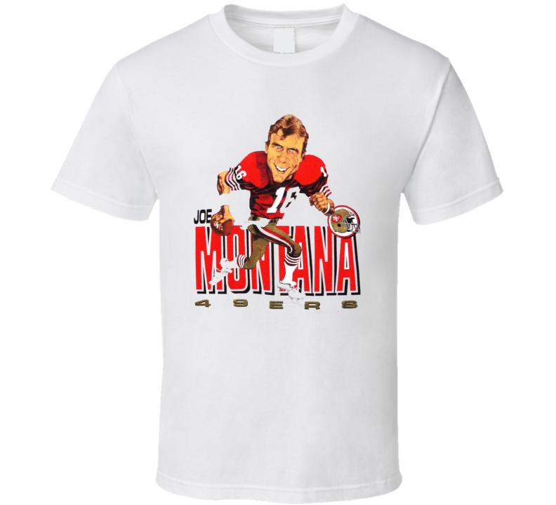 Joe Montana Retro Football Caricature T Shirt