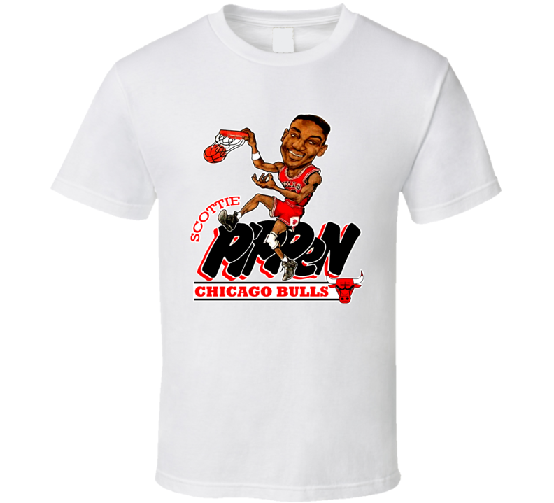 Scottie Pippen Retro Basketball Caricature T Shirt