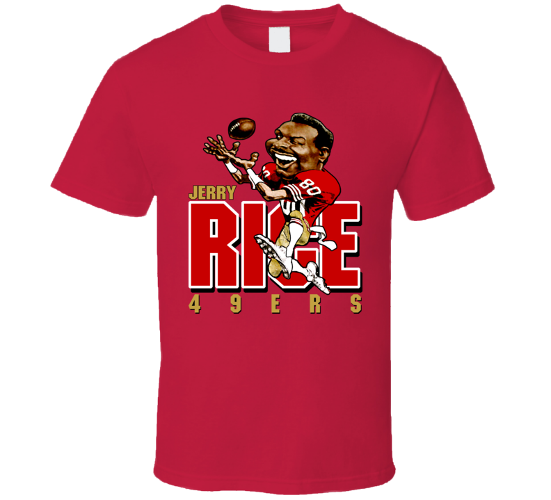 Jerry Rice Retro Football Caricature T Shirt