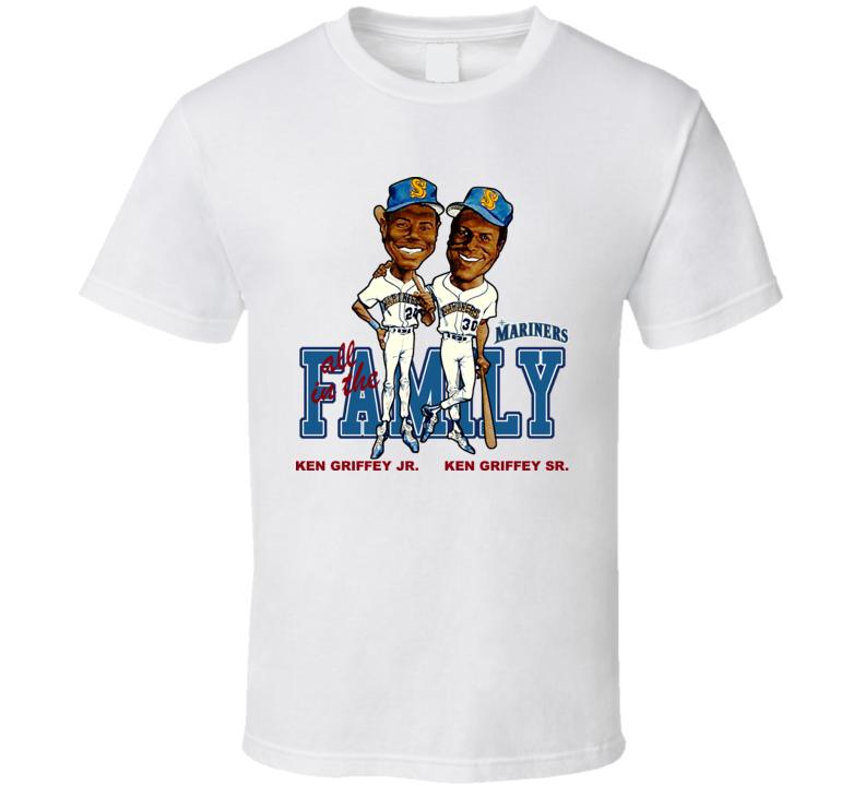 Ken Griffey Jr and Sr Baseball Caricature T Shirt