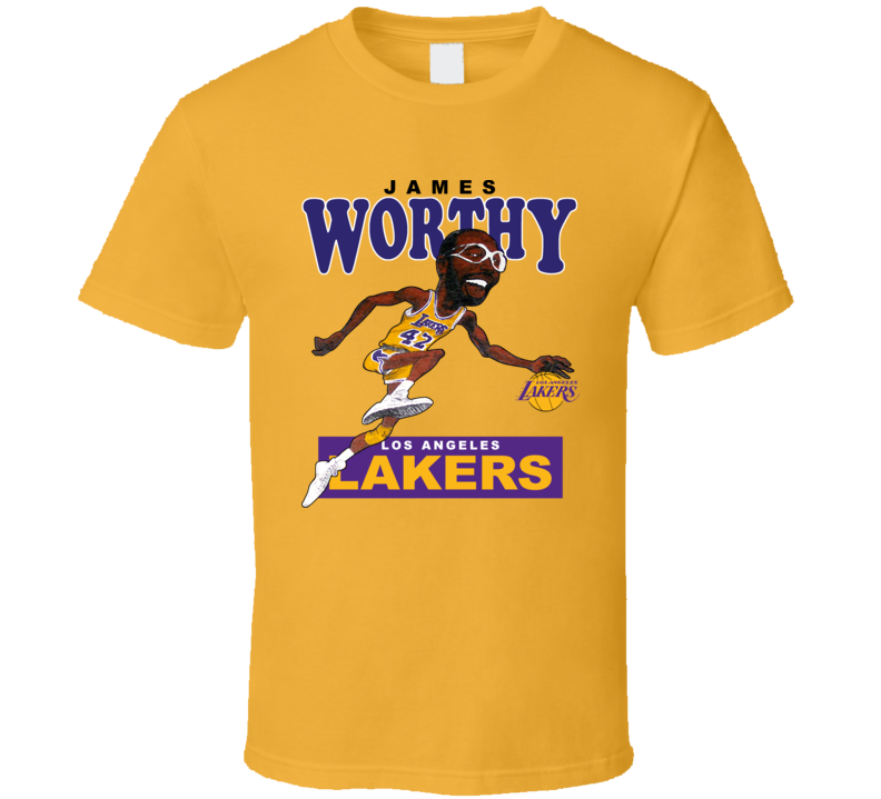 buy online 8fd0e 39624 James Worthy Retro Basketball Caricature T Shirt