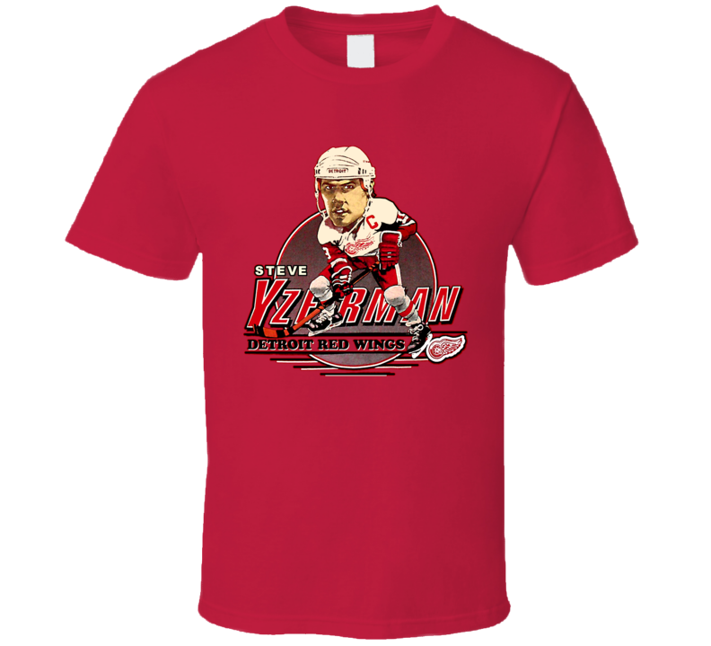 Steve Yzerman Retro Hockey Caricature T Shirt