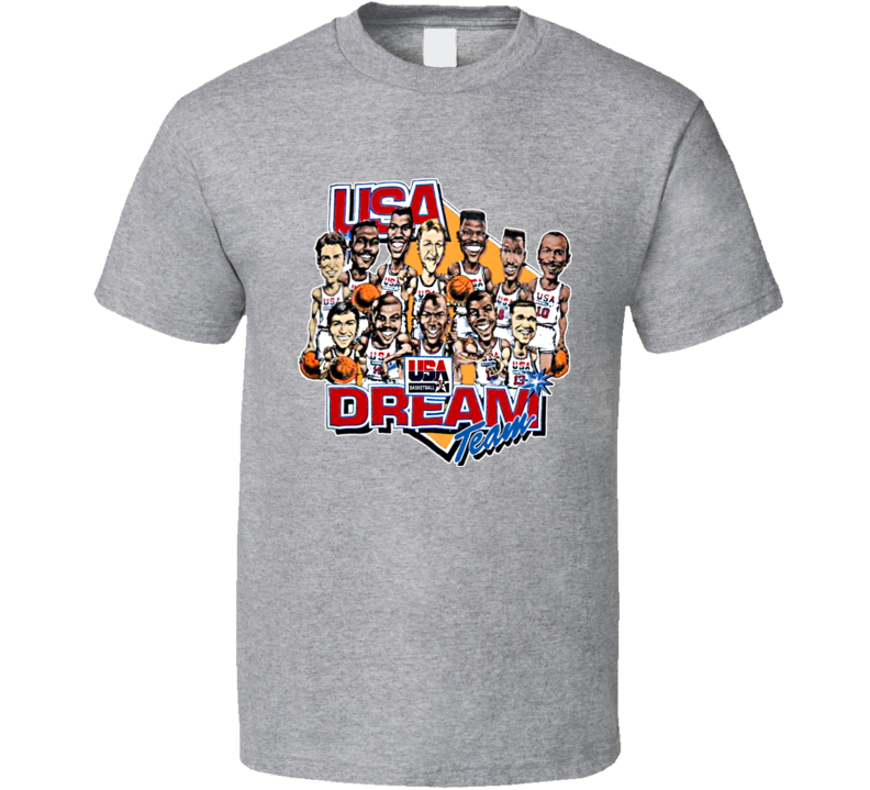 Usa Dream Team Retro Caricature T Shirt