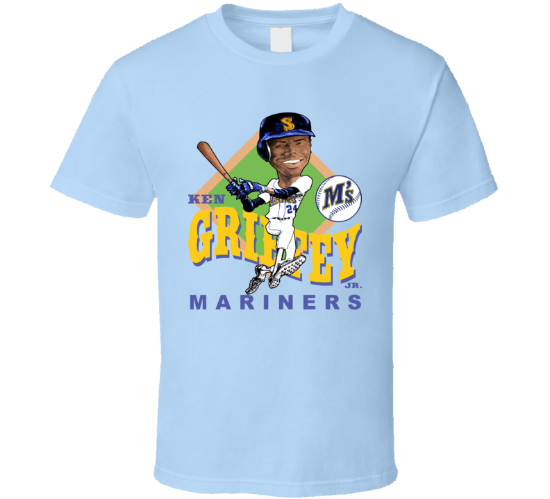Ken Griffey Jr Retro Baseball Caricature  T Shirt