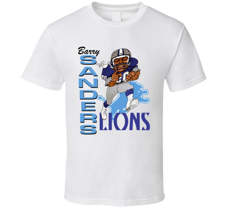 Barry Sanders Retro Football Caricature T Shirt