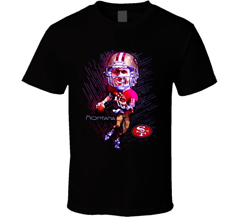 Joe Montana Football Legend Caricature T Shirt