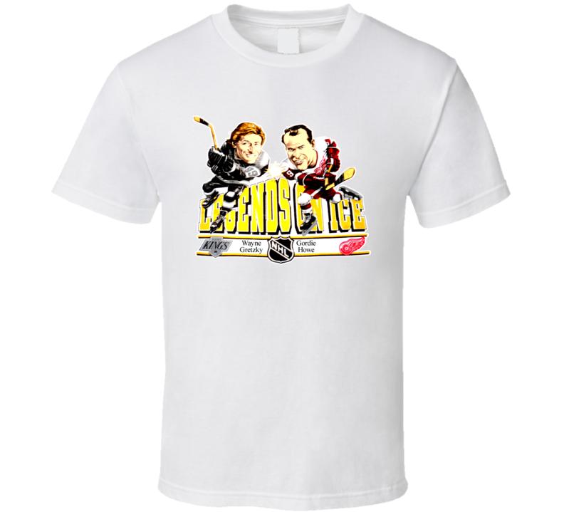Wayne Gretzky Gordie Howe Hockey Caricature T Shirt