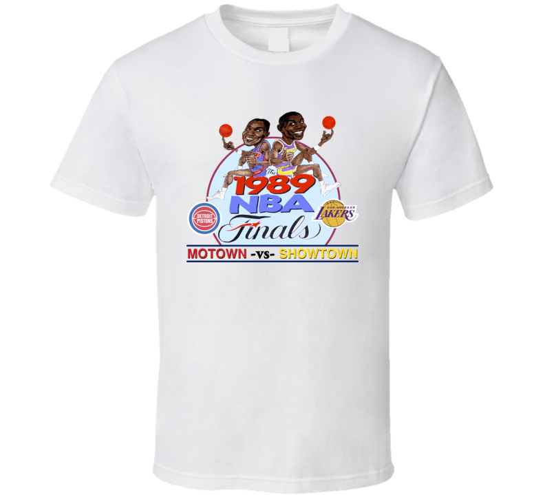 Magic Johnson Isiah Thomas 1989 Finals Caricature T Shirt