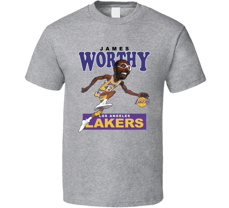 James Worthy Retro Basketball Caricature T Shirt