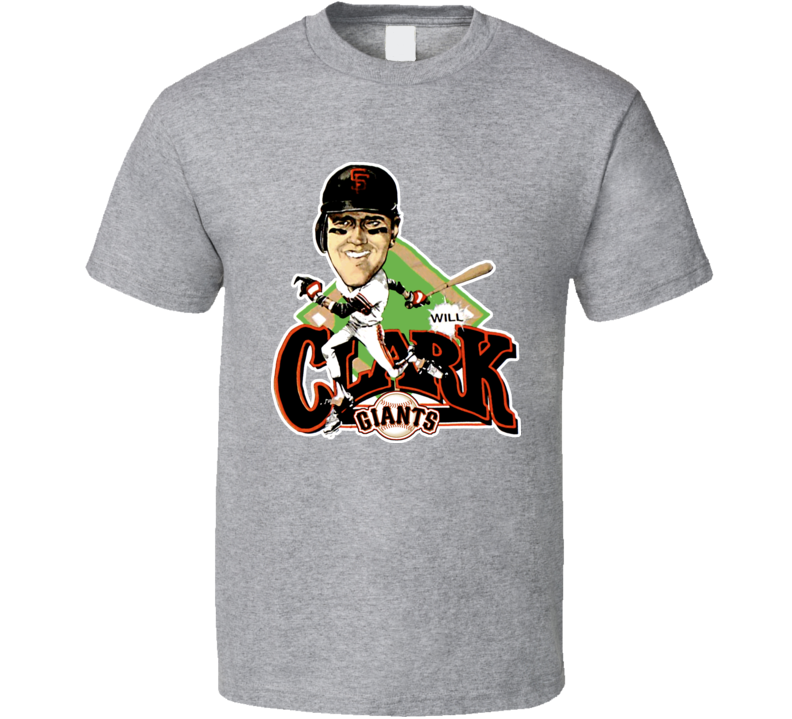Will Clark Retro Baseball Caricature T Shirt