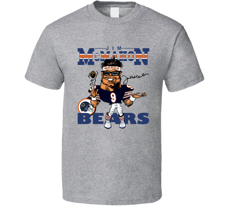 Jim McMahon Retro Football Caricature T Shirt - Grey