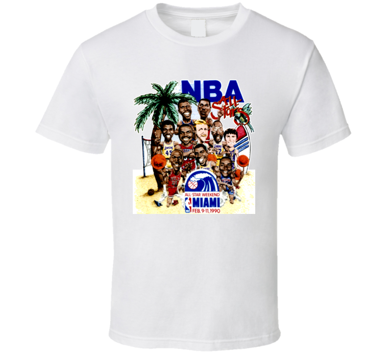 1990 Basketball All Star Game Caricature T Shirt