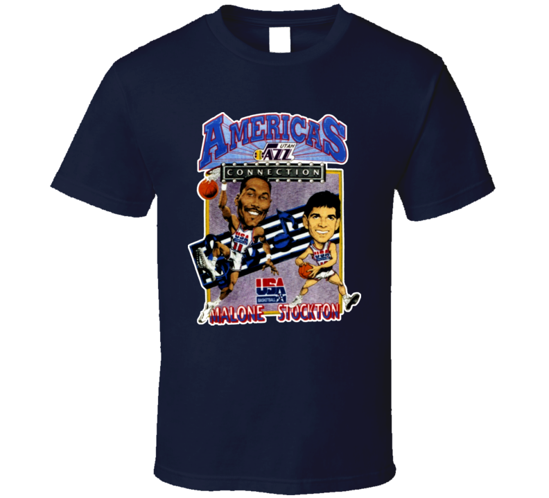 USA Basketball Stockton Malone Caricature T Shirt