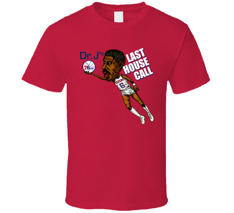DR J Julius Erving Retro Basketball Caricature T Shirt