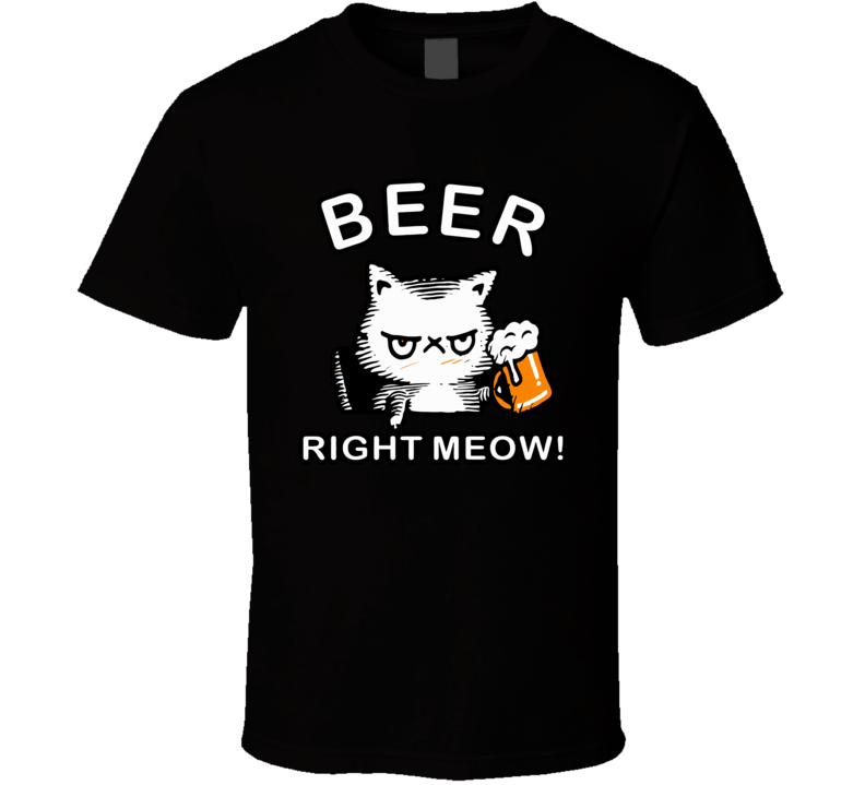 Cat Beer Right Meow Vitage T Shirt