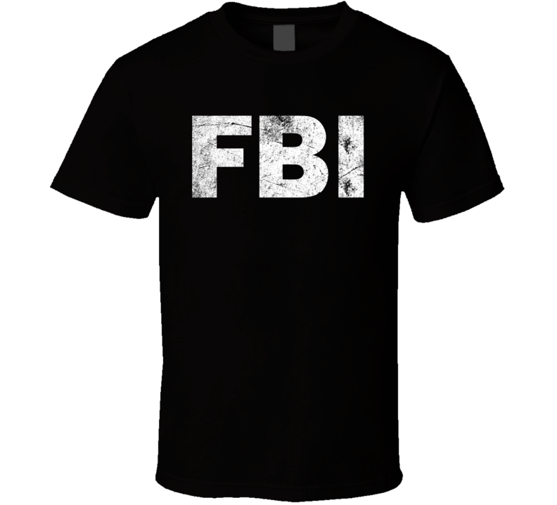 Fbi Logo White Grunge T Shirt
