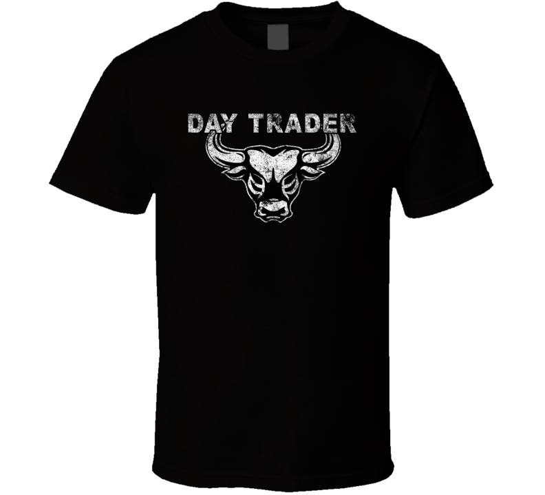 Day Trading Bull Logo Grunge Trader Forex Bitcoin Cryptocurrency T Shirt