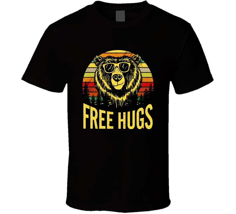 Free Hugs Bear Pattern Sunset Vintage T Shirt