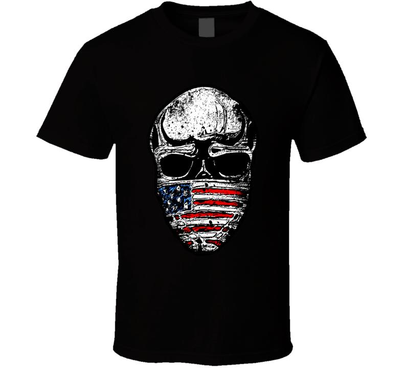American Flag Skull Military Patriotic Veteran T Shirt