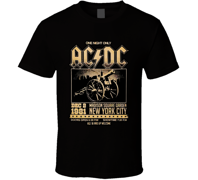 Acdc Madison Square Garden 1981 T Shirt