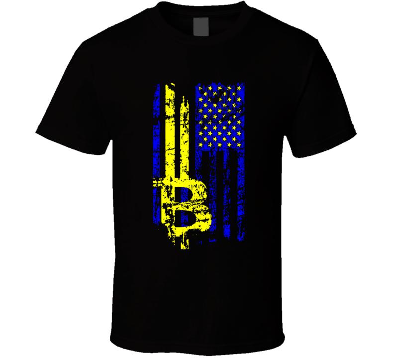 Bitcoin Crypto Distressed American Cryptocurrency Btc Digital Flag T Shirt
