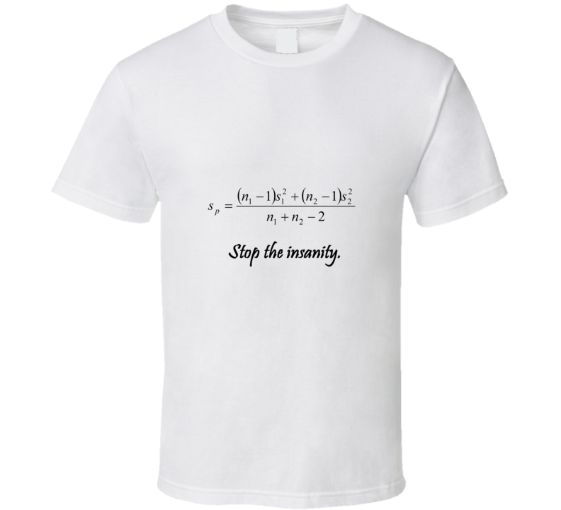 Stop the insanity Funny unique stats nerd or geek tshirt Great gift for grad student prof quant methods statistician