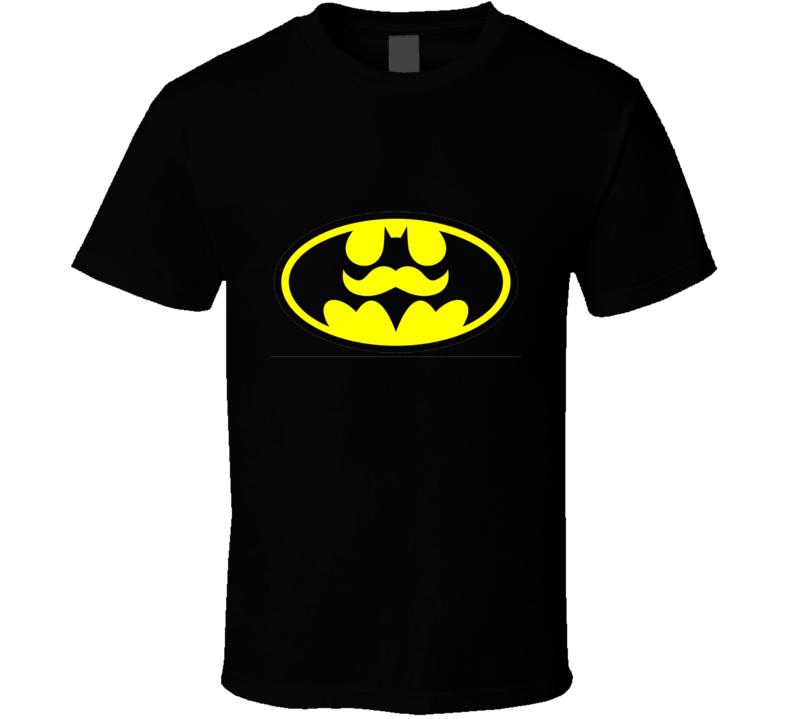 Batman with Moustache Black Tshirt