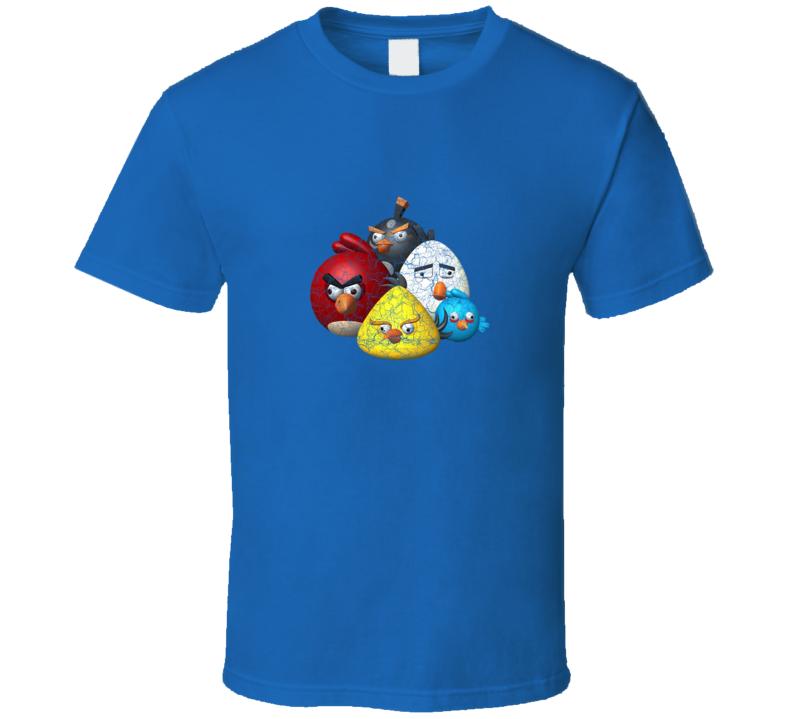 Distressed Angry Bird Flock Royal Blue T Shirt