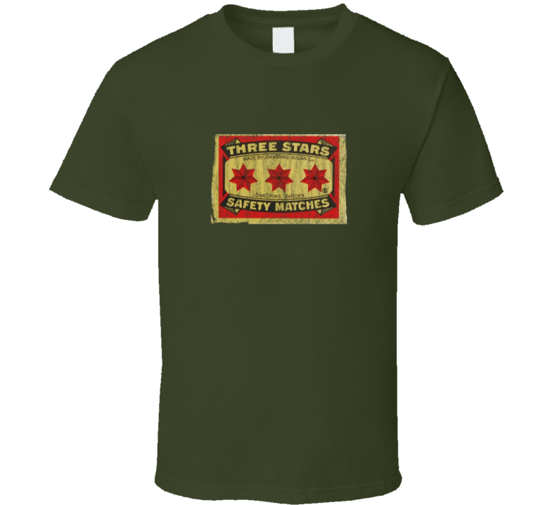 Distressed Three Stars Safety Matches Military Green T Shirt