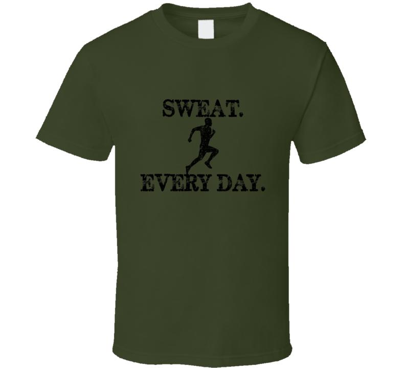 Sweat Every Day Military Green Running T Shirt