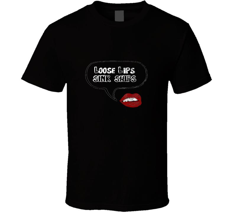 Loose Lips Sink Ships Shameless Mandy Black T Shirt