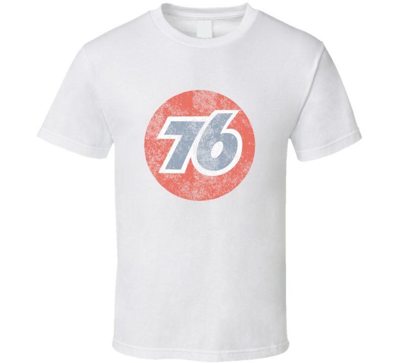 76 Oil & Gas Distressed White T Shirt