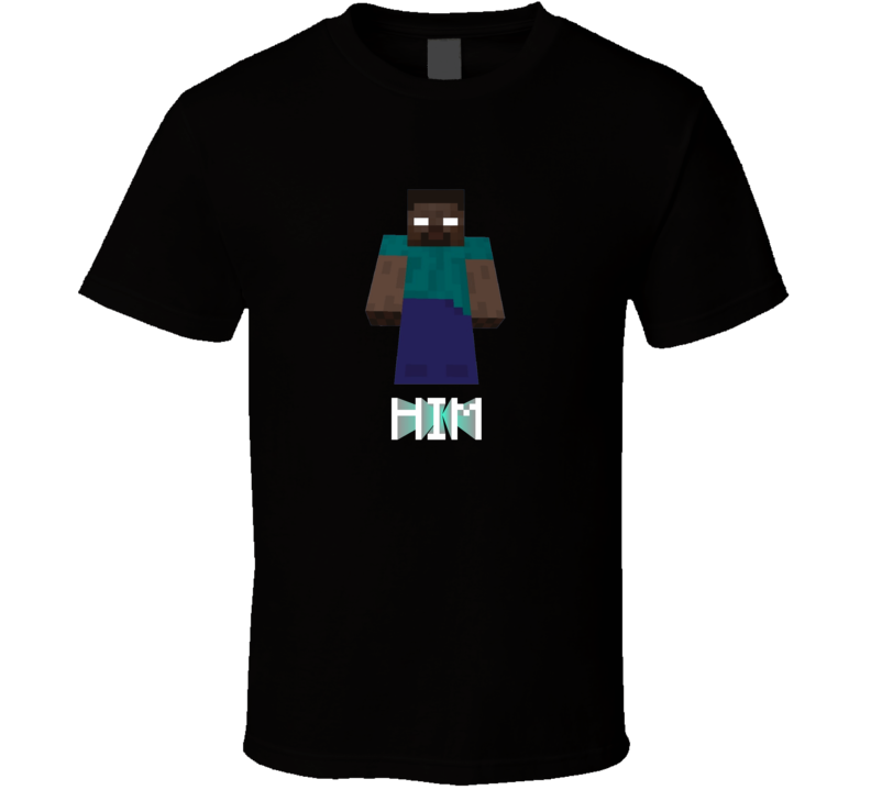 Minecraft Herobrine HIM Black T Shirt