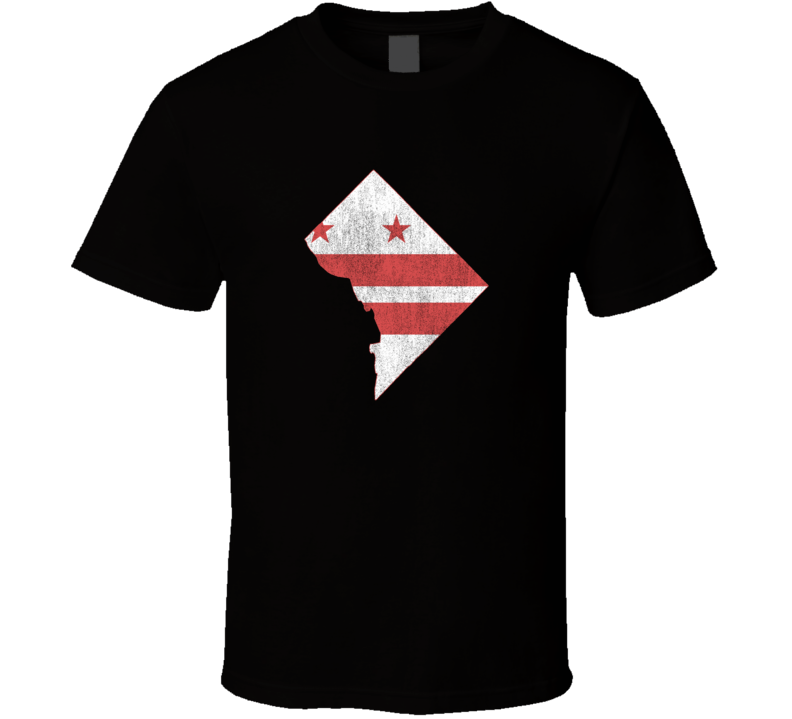 Washington D.C. State Shape Flag Distressed Faded Look Black T Shirt
