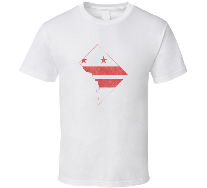 Washington D. C. State Shape Flag Distressed Faded Look White T Shirt