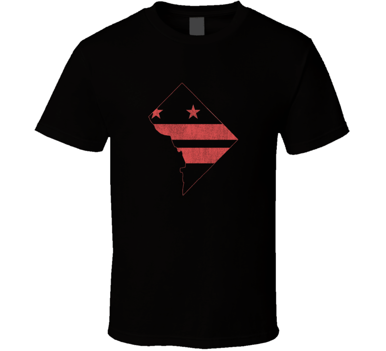 Washington D.C. State Shape Distressed Faded Look Black T Shirt