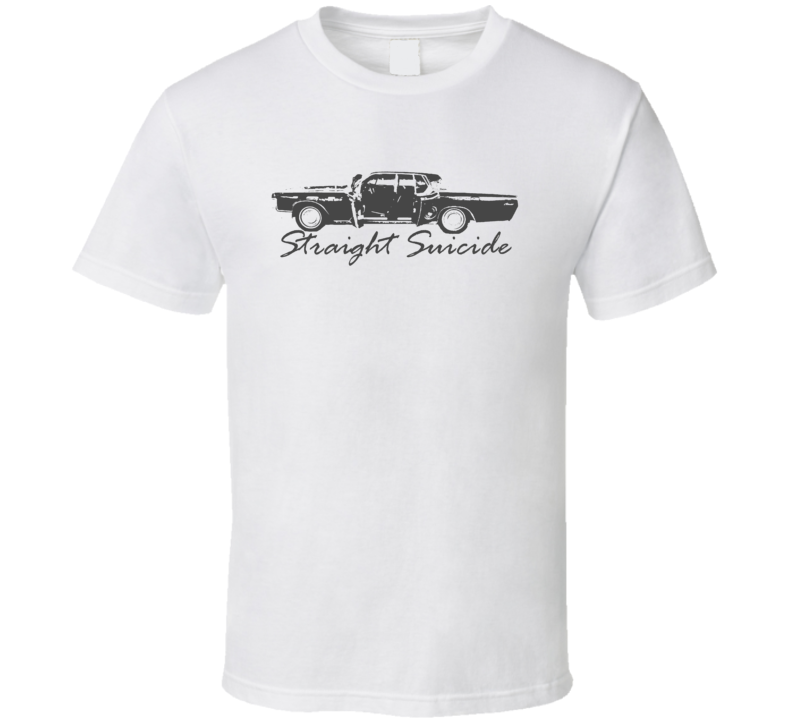 1969 Lincoln Continental Straight Suicide Side View Faded Look White T Shirt