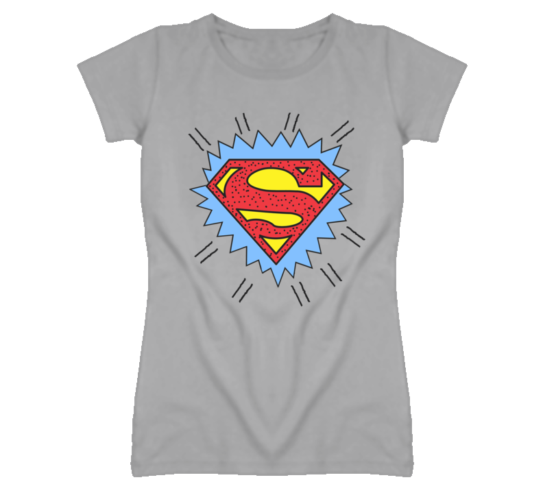Naya Rivera Superman Faded Look Sport Grey T Shirt