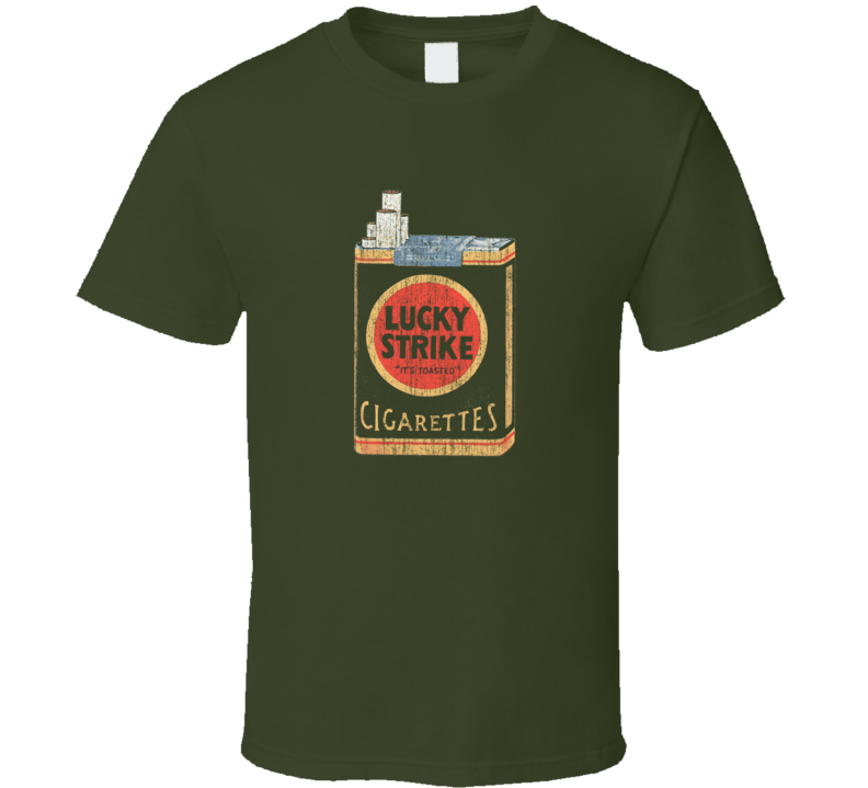 Lucky Strike Cigarettes Distressed Faded Look Military Green T Shirt