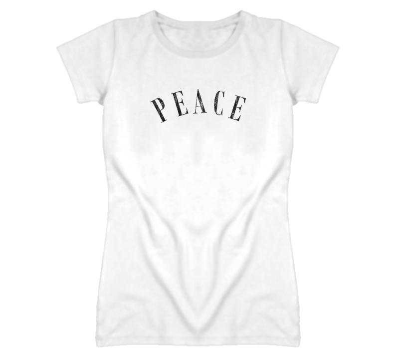 Heidi Klum Peace Distressed Faded Look White T Shirt