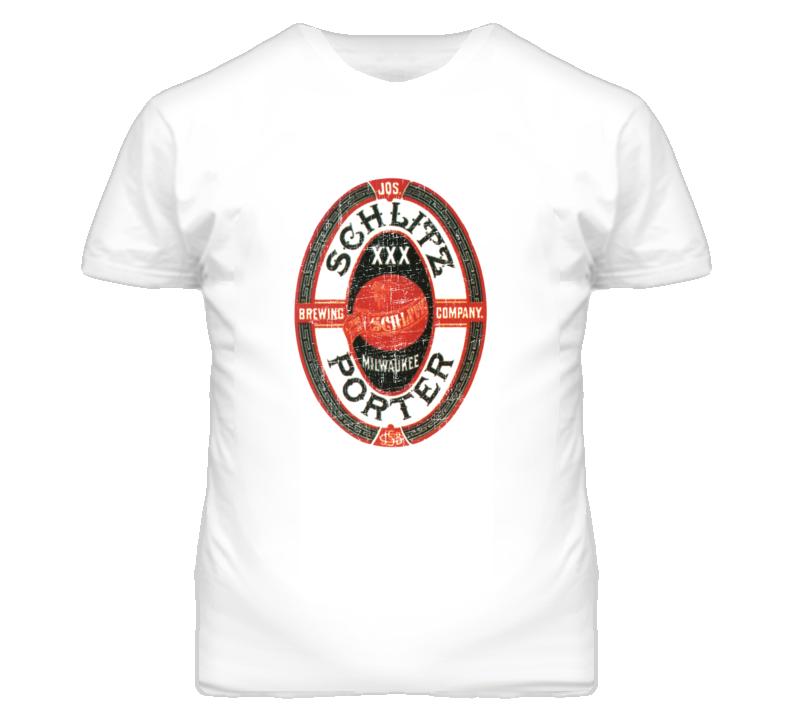 Schlitz Porter Milwaukee Beer Distressed Look Retro T Shirt