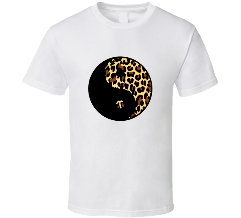 Yin Yang Leopard Print Standard White T Shirt