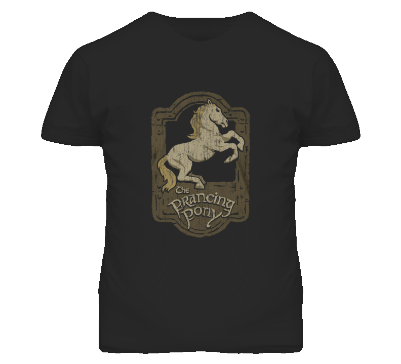 Prancing Pony Lord of the Rings Distressed Look Black T Shirt
