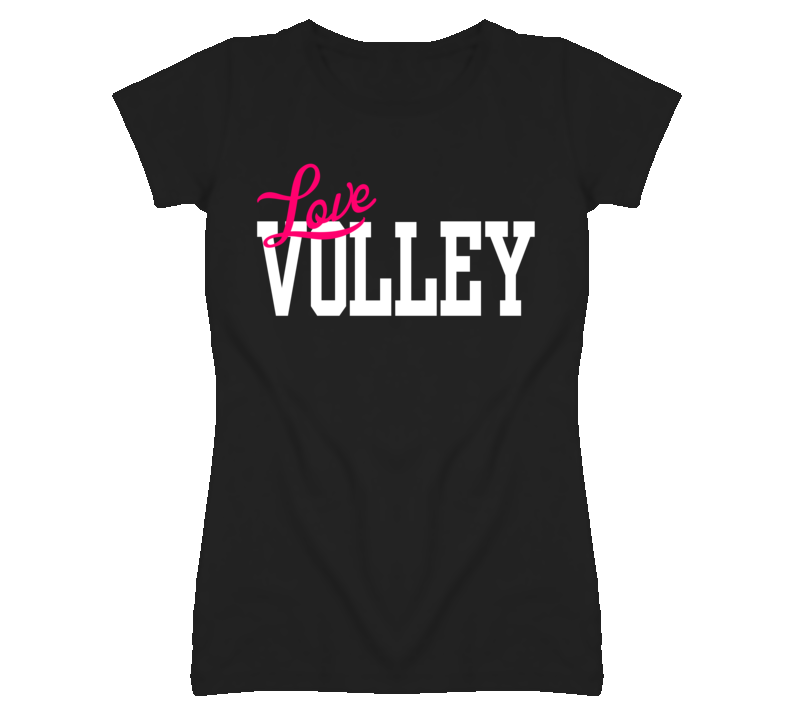 Love Volley Popular Ladies Black Fitted T Shirt